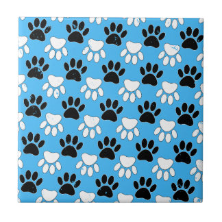 Distressed Black And White Paws On Blue Background Ceramic Tile