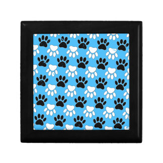 Distressed Black And White Paws On Blue Background Gift Box