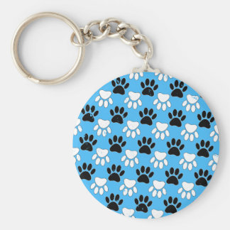 Distressed Black And White Paws On Blue Background Key Ring