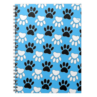 Distressed Black And White Paws On Blue Background Notebooks
