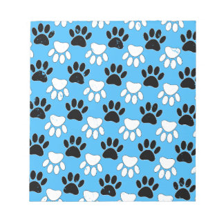 Distressed Black And White Paws On Blue Background Notepad
