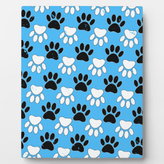 Distressed Black And White Paws On Blue Background Plaque