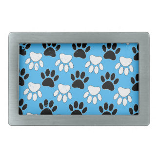 Distressed Black And White Paws On Blue Background Rectangular Belt Buckle