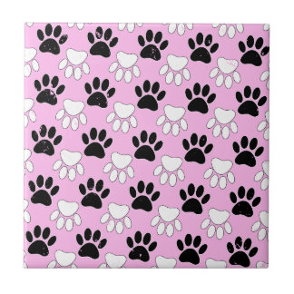 Distressed Black And White Paws On Pink Background Ceramic Tile