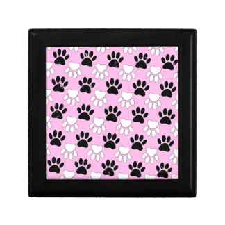 Distressed Black And White Paws On Pink Background Gift Box