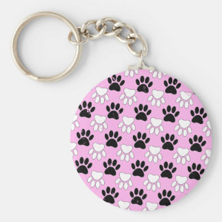 Distressed Black And White Paws On Pink Background Key Ring