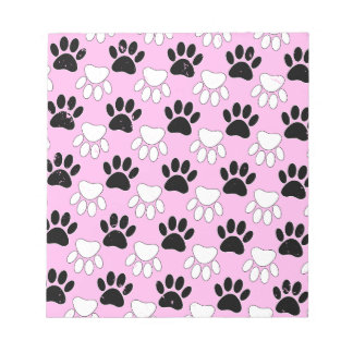 Distressed Black And White Paws On Pink Background Notepad