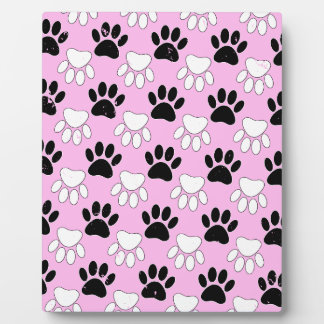 Distressed Black And White Paws On Pink Background Plaque