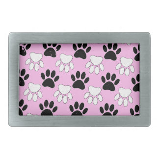 Distressed Black And White Paws On Pink Background Rectangular Belt Buckles