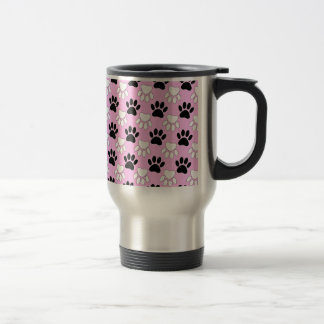 Distressed Black And White Paws On Pink Background Travel Mug