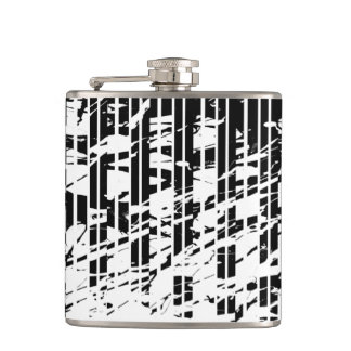 Distressed Black and White Pinstripe Hip Flask