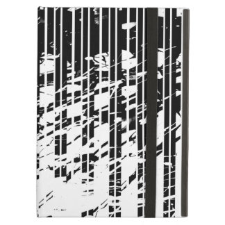 Distressed Black and White Pinstripe iPad Air Covers