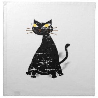 Distressed Black Fat Cat Napkin