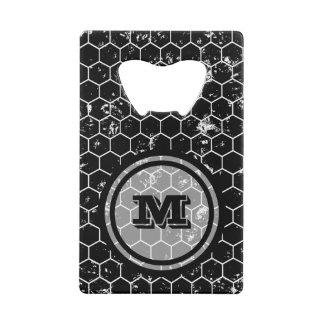 Distressed Black Honeycomb Geometric Monogram