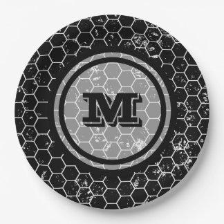 Distressed Black Honeycomb Geometric Monogram 9 Inch Paper Plate