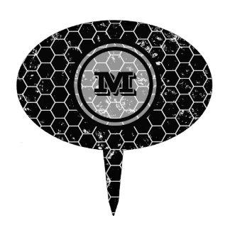 Distressed Black Honeycomb Geometric Monogram Cake Pick