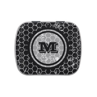Distressed Black Honeycomb Geometric Monogram Jelly Belly Tin