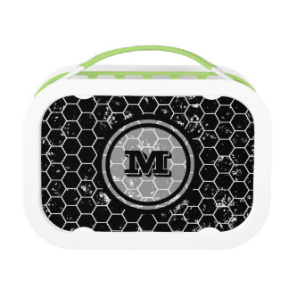 Distressed Black Honeycomb Geometric Monogram Lunch Boxes