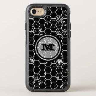 Distressed Black Honeycomb Geometric Monogram OtterBox Symmetry iPhone 8/7 Case