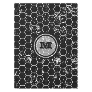 Distressed Black Honeycomb Geometric Monogram Tablecloth
