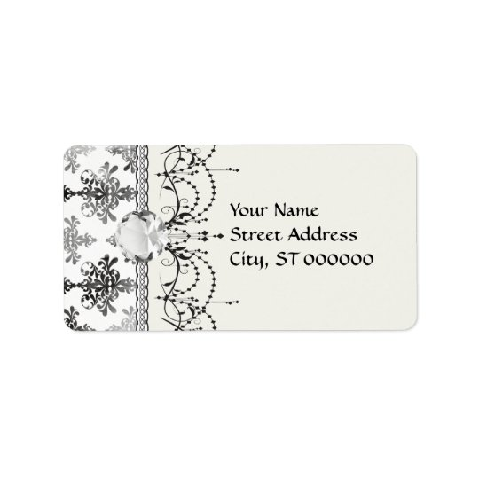 distressed black white intricate damask address label