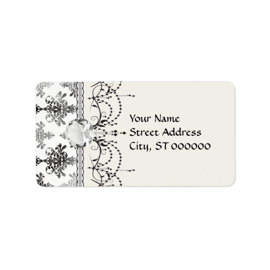 distressed black white intricate damask label