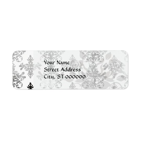 distressed black white intricate damask return address label