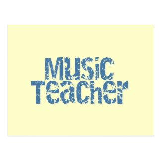 Distressed Blue Text Music Teacher Postcard