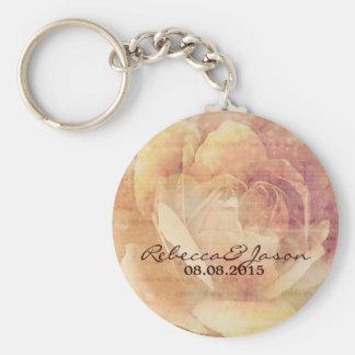 Distressed Botanical vintage Rose Wedding favor Basic Round Button Key Ring