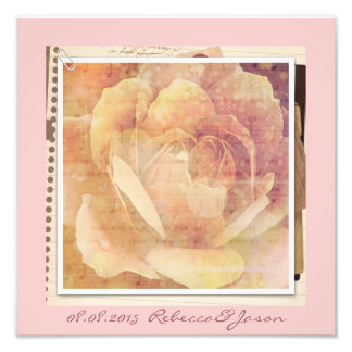 Distressed Botanical vintage Rose Wedding Photo Print