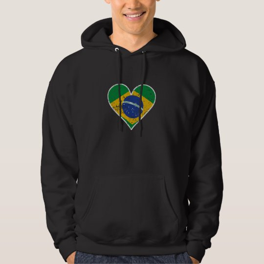 Distressed Brazilian Flag Heart Hoodie