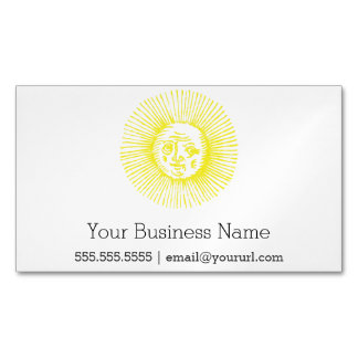 distressed bright yellow sun 	Magnetic business card