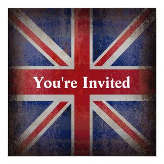 Distressed British Flag 13 Cm X 13 Cm Square Invitation Card