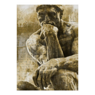 Distressed bronze statue Auguste Rodin the thinker Poster