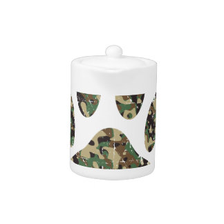 Distressed Camo Dog Paw Print