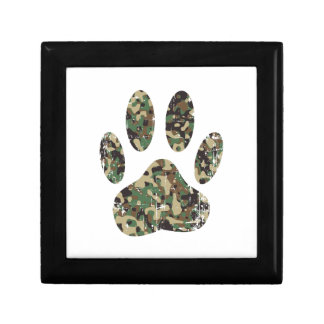 Distressed Camo Dog Paw Print Gift Box