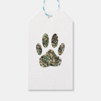 Distressed Camo Dog Paw Print Gift Tags