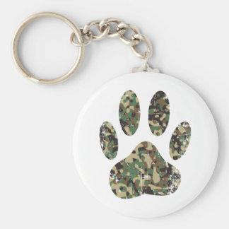Distressed Camo Dog Paw Print Key Ring