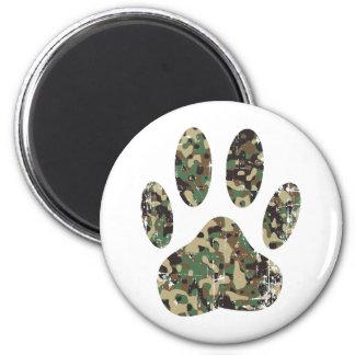Distressed Camo Dog Paw Print Magnet