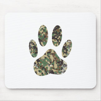 Distressed Camo Dog Paw Print Mouse Pad
