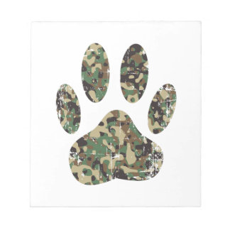 Distressed Camo Dog Paw Print Notepad