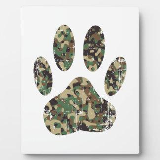Distressed Camo Dog Paw Print Plaque