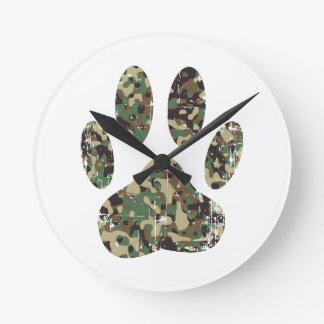 Distressed Camo Dog Paw Print Round Clock