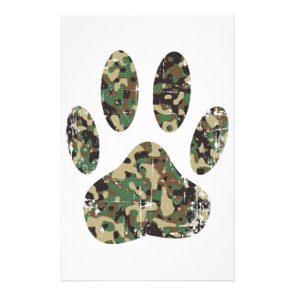 Distressed Camo Dog Paw Print Stationery