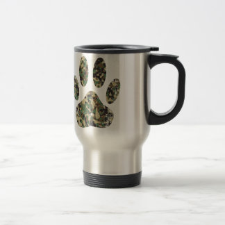 Distressed Camo Dog Paw Print Travel Mug