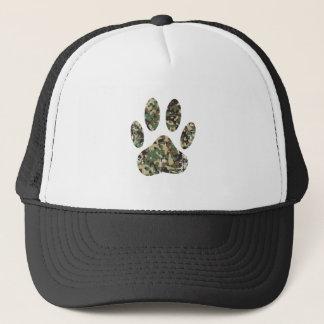 Distressed Camo Dog Paw Print Trucker Hat