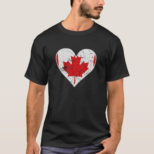 Distressed Canadian Flag Heart T-Shirt