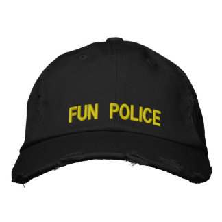 Distressed Cap Fun Police Embroidered Baseball Cap