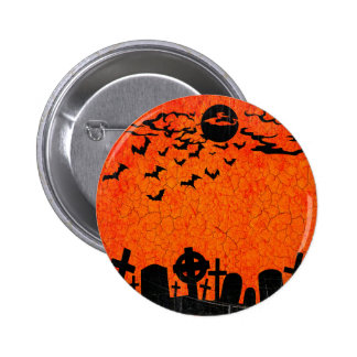 Distressed Cemetery - Orange Black Halloween Print 6 Cm Round Badge