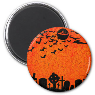 Distressed Cemetery - Orange Black Halloween Print 6 Cm Round Magnet